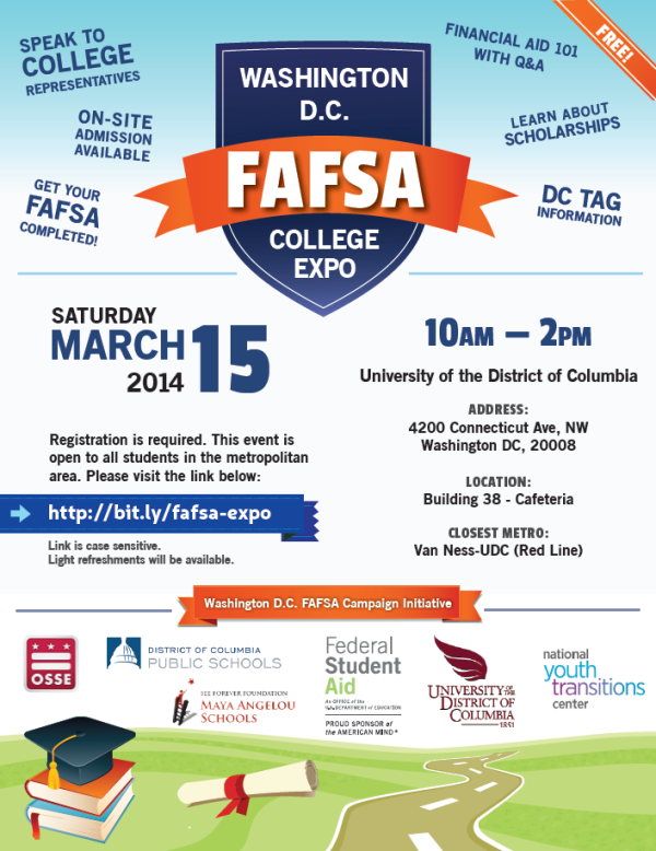 Washington, DC FAFSA/COLLEGE EXPO March 15, 2014